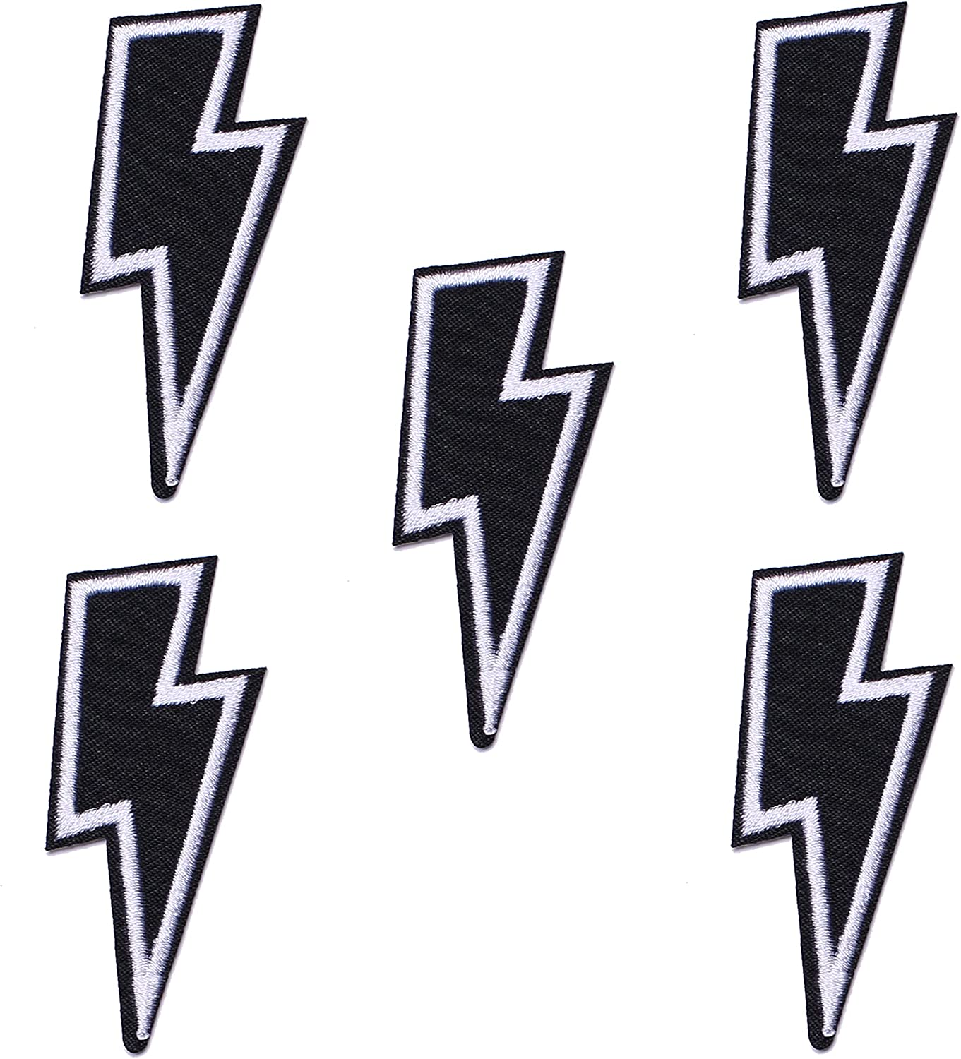 J.CARP 5Pcs Low price Black Lightning Embroidered Patch Clothe on for Award-winning store Iron