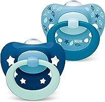 NUK Signature Schnuller | 18-36Monate | BPA-freier Schnuller aus Silikon | blaugrüne Sterne | 2Stück