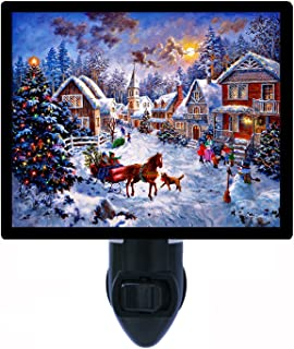 Christmas Night Light, Merry Christmas, Horse and Carriage, LED Night Light