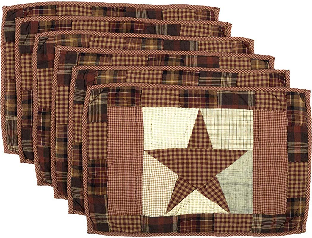 VHC Brands Abilene Star Quilted 30614 Placemat Set Of 6