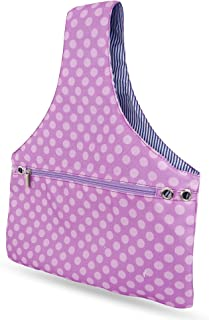 JamieCraft Yarn Bag – Portable, Light, and Easy to Carry Canvas Wrist Bag for Crochet and Knitting On The Go, Project Bag Holds Supplies and 14 Inch Needles or Hooks (Purple Dots)