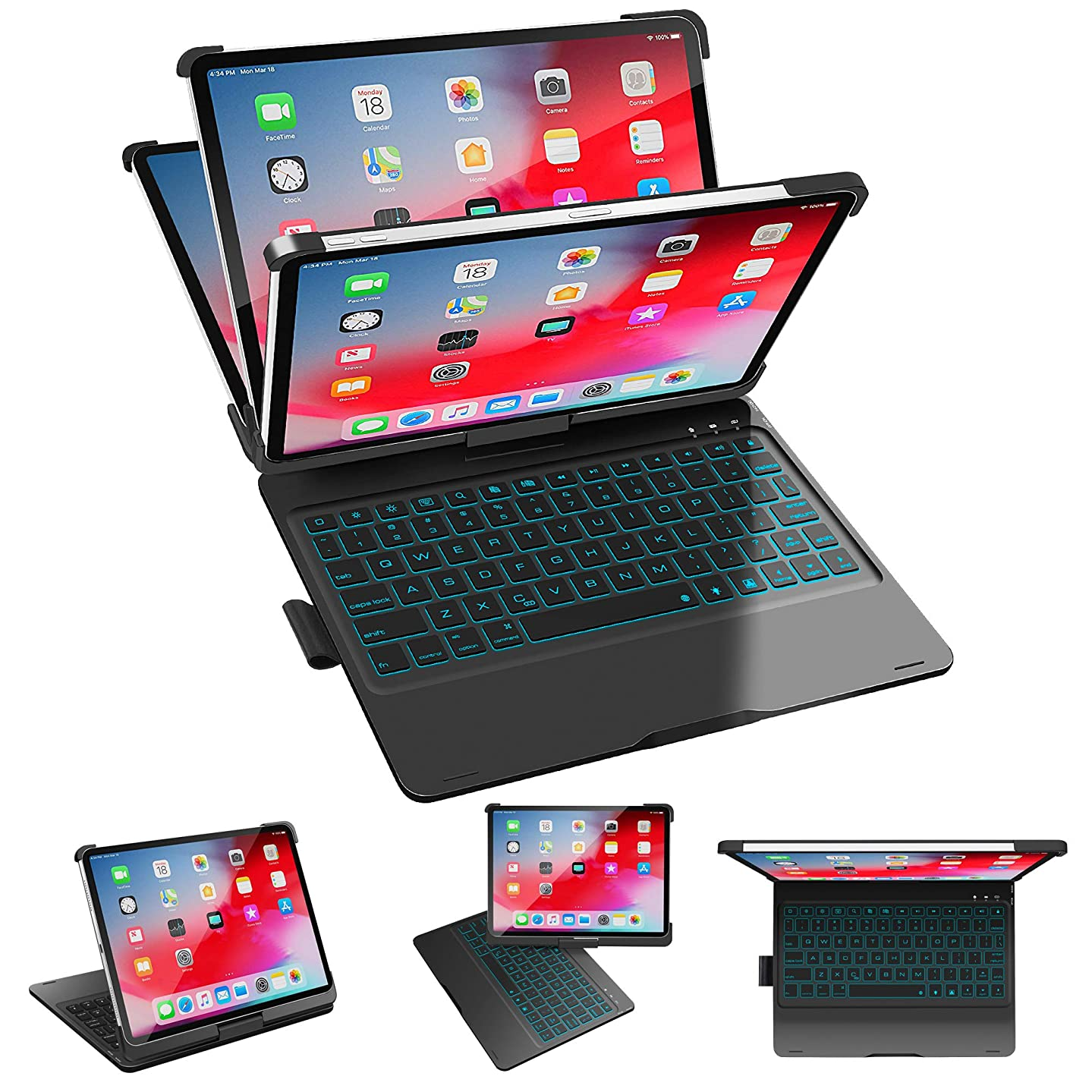 SZILBZ iPad Pro 11 Keyboard Case 2018,Wireless Bluetooth Keyboard,360 Rotatable and 180 Flip,Thin & Light,Auto Sleep/Wake up,7 Colors Backlight【Support Apple Pencil 2nd Gen Charging】 (Black)
