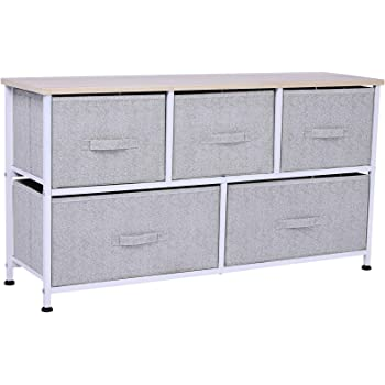 Amazon Com Homcom 40 L 5 Drawer Horizontal Storage Cube Dresser Unit Bedroom Organizer Livingroom Shelf Tower With Fabric Bins Home Kitchen