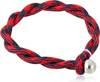 Tommy Hilfiger Men's Stainless Stell & Red & Navy Cotton Bracelets -2790048