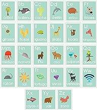 Children Inspire Design Spanish Alphabet 08x10 Inch Print Wall Cards, Blue Nature, Kid's Wall Art, Nursery Decor, Kid's Room Decor, Gender Neutral Nursery Decor