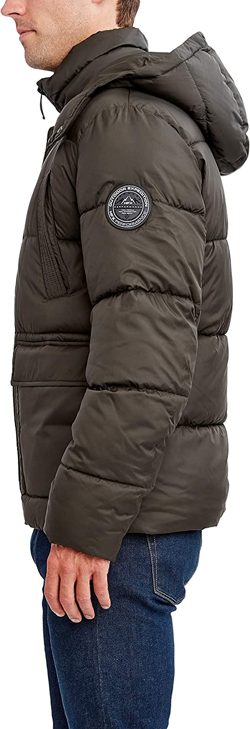 HFX Men's Poly Hooded Puffer with Breast Pockets at  Men's Clothing store
