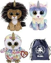 ReBL LLC TY Stuffed Plush Animals Toys Beanie Boos Lion (Ramsey), Cat (Heather) and Owl (Enchanted) Unicorns with Gift Bag