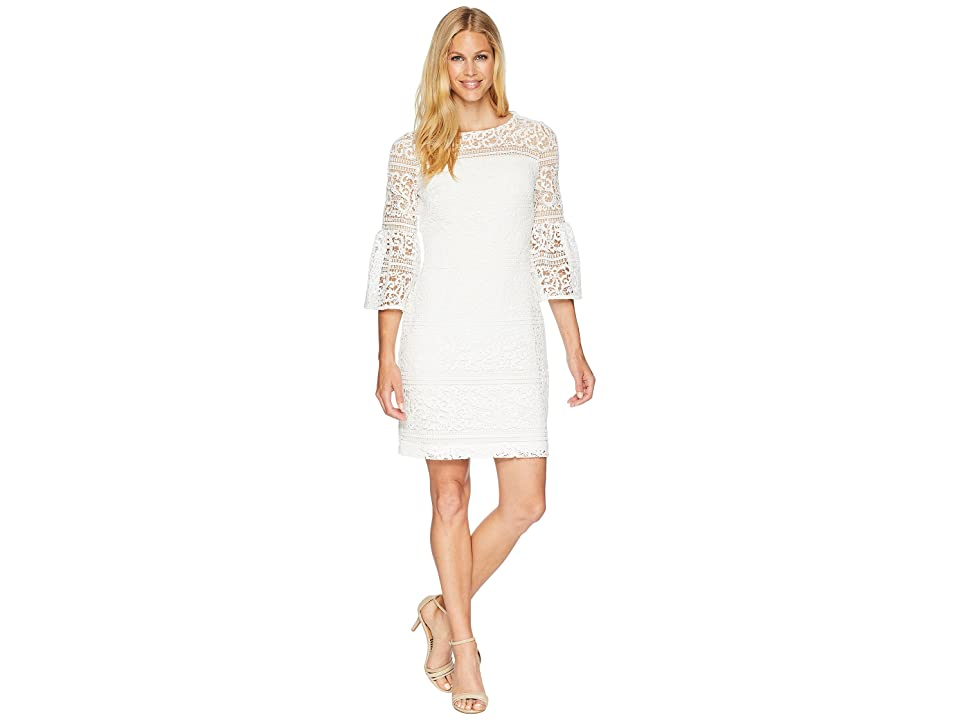 LAUREN Ralph Lauren 138A Filigree Striped Obelix 3/4 Sleeve Day Dress (White) Women
