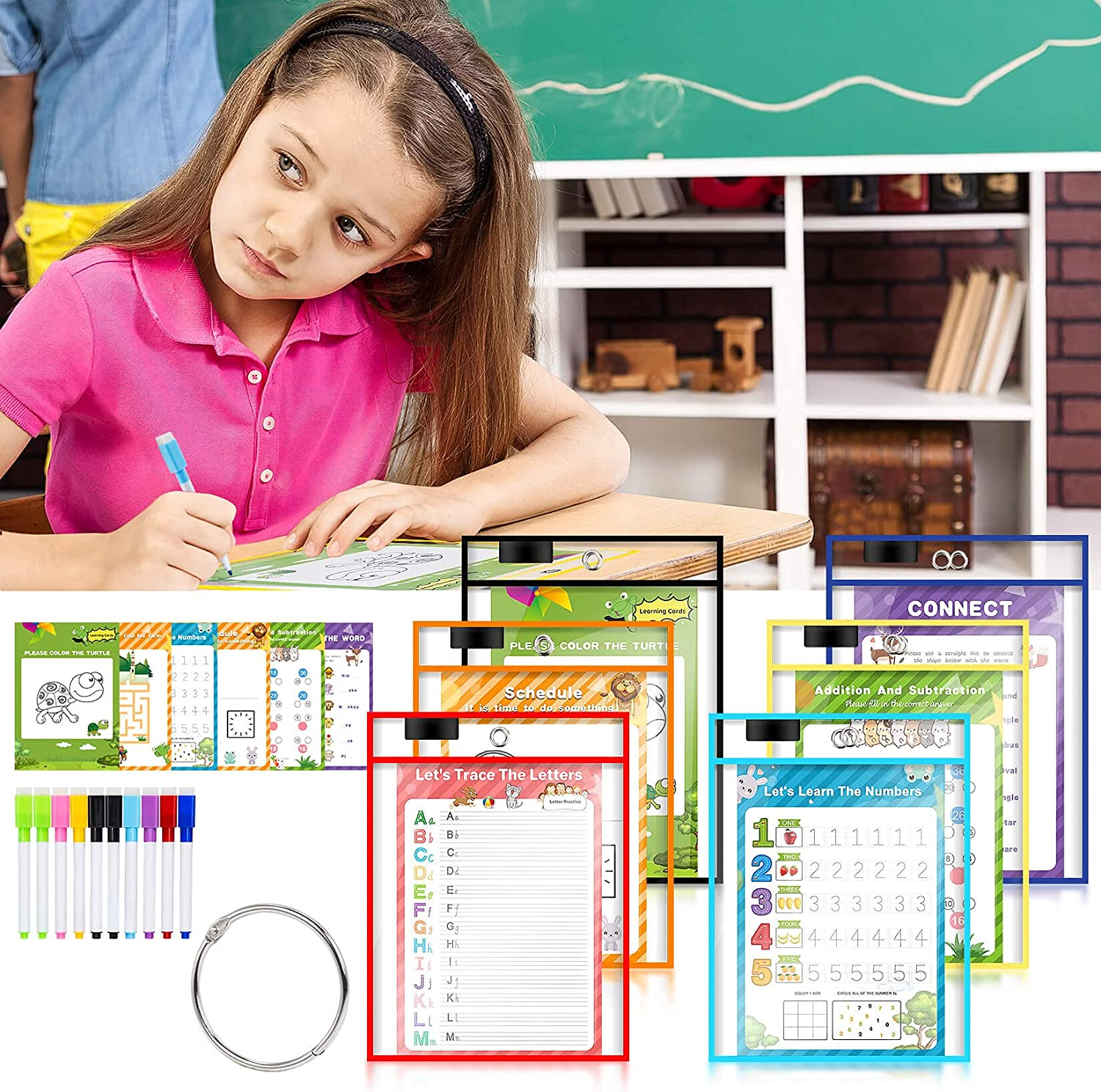 6 Pack Dry Erase Pockets, Dry Erase Sleeves Kids Ages 4-8-12 Assorted Color Oversized 10X14 inch Paper Great for Teachers, School, Home & Office. : Office Products