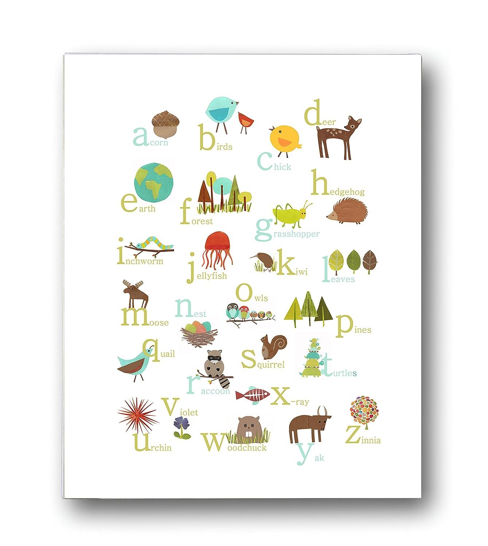 Nature Themed English Alphabet Wall Art Print 20x20 Nursery Decor Kid's  Wall Art Print Kid's Room Decor Gender Neutral Nursery Decor Animal ABC  Poster ...