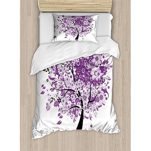 Landscape Duvet Cover Set with Pillow Shams Old Tree Botany Wood Print