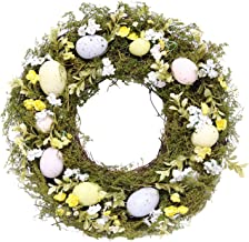 DII Decorative Seasonal Wreath, Spring and Summer, Front Door Or Interior Wall Decoration, 36x36cm Diameter, Eggs and Flowers
