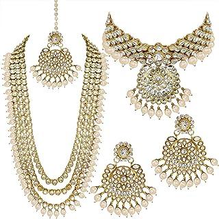 I Jewels Traditional Gold Plated Kundan Pearl Wedding Choker Necklace Set Earrings & Maang Tikka for Women (IJ325)