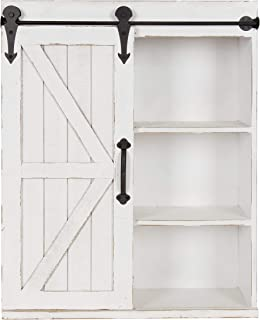 Kate and Laurel Cates Modern Farmhouse Wood Wall Storage Shelving Cabinet with Sliding..