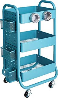 AmazonBasics 3-Tier Metal Storage Rolling Cart with Utility Handle and Extra Storage Accessories, Turquoise