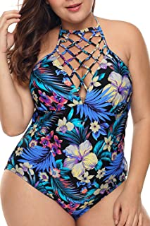 TURNMEON Women's One Piece Swimsuits Plus Size Monokinis Swimwear Athletic Tankini