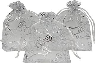 Ankirol 100pcs Sheer Organza Favor Bags for Wedding Baby Shower Rattan Print Gift Bags Samples Display Drawstring Pouches (3x4, Silver)
