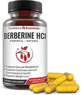 PuraVance Essentials Berberine 500mg – Premium Support for Blood Sugar, Glucose Metabolism, Insulin, Immune System, Cardio...