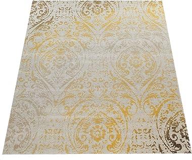 Paco Home Tapis Intérieur Et Extérieur Orient Motif Jaune Crème, Dimension:240x340 cm