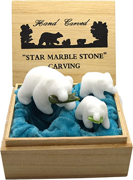 Mbd Grizzly Bear Family Set Hand Carved Star Marble Green Jade Stone Salmon Fish Figurines Gift Boxed