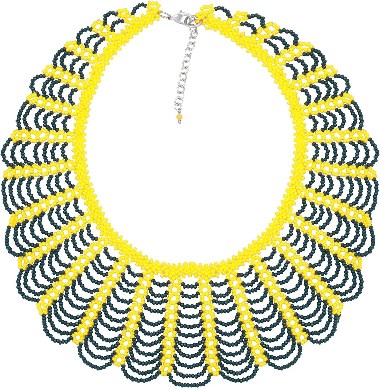 El Allure Yellow And Dark Green Preciosa Jablonex Seed Bead American Navajo Inspired Crochet Choker Collar Design Handmade Personalized Delicate Fine Costume Fashion Necklace For Women