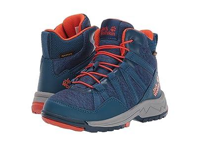 Jack Wolfskin Kids Thunderbolt Texapore Mid (Toddler/Little Kid/Big Kid) (Blue/Orange) Boys Shoes