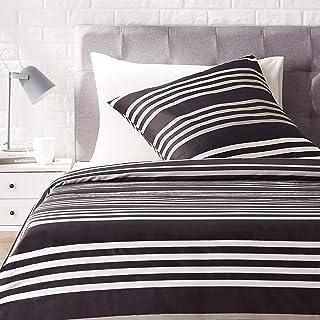 Amazon Basics - Juego de ropa de cama con funda de edredón, de satén, 135 x200 cm / 80 x 80 cm x 1, A rayas