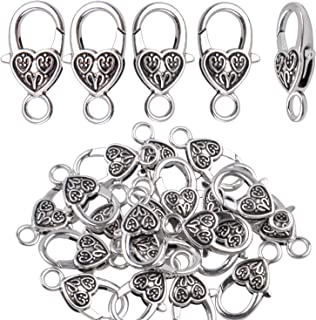 20 Pieces Antique Silver Alloy Large Heart Lobster Claw Clasp Jewelry Cord End for DIY Making Necklace Bracelet, 2.6 X 1.5cm