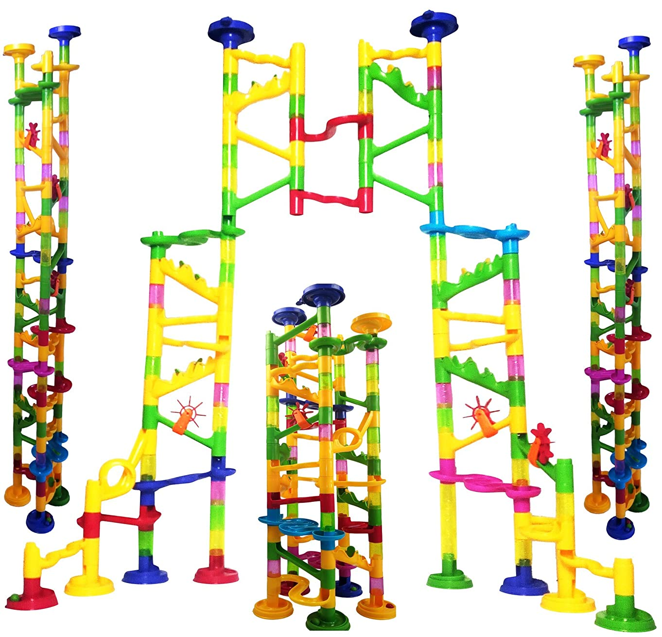"Big Marble Run Coaster Maze Toy 115 Pieces Building Set: 82 Blocks + 33 Safe Plastic Marbles. 250"" Long Marble Tracks. STEM Learning Games for Toddlers. Kids Building Kits."
