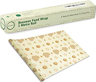 Navega Beeswax Food Wrap - Roll (13 x 39'') Reusable Beeswax Wrap   Sustainable Food Storage   Sandwiches, Cheese, Fruit, Bread   Cotton, Beeswax, Jojoba Oil, Tree Resin   Cling Film Alternative
