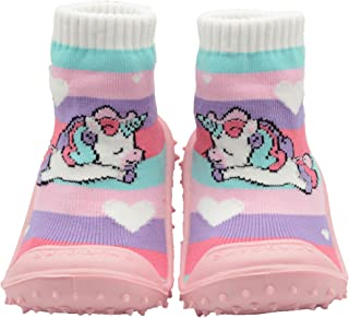 SKIDDERS Baby Toddler Girls Grip with Rubber Soles Non-Slip Flexible Shoes Unicorn