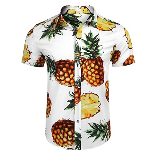 43775adda Modfine Mens Hawaiian Shirt Long Sleeve Pineapple Button Down Casual Shirt  Holiday Floral Party Top