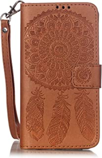 Galaxy J3 (2016) Case, Galaxy Amp Prime Case, Galaxy Express Prime Case, Galaxy Sol Case, JanCalm [Wrist Strap] Premium PU Leather [Multi Card/Cash Slots] Stand Flip Cover with Pen (Brown)