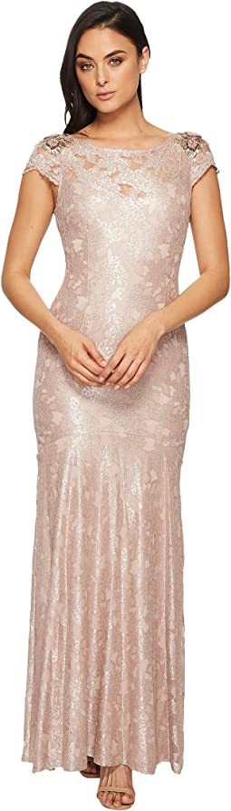 Adrianna Papell Long Metallic Lace Cap Sleeve Gown