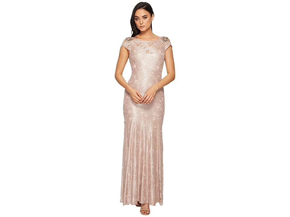 Adrianna Papell Long Metallic Lace Cap Sleeve Gown (Silver Quartz) Women