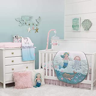 NoJo Sugar Reef Mermaid 4 Piece Nursery Crib Bedding Set Nursery Organizer, Aqua/Teal/Pink