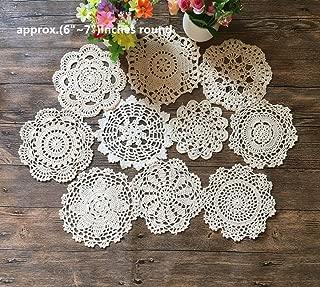 Mindplus 10pcs Cotton Hand Made Crochet Doilies 6-7 inches Round Beige Vintage Wedding Tea Party