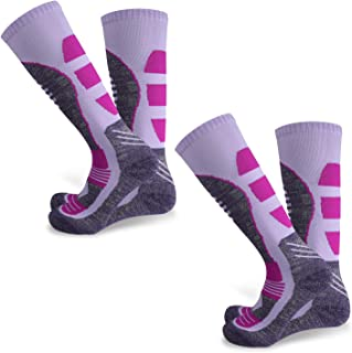 Zacro 2 Pair Ski Socks for Women - Thicken and Lengthen Outdoor Skiing Socks,  Snowboard Socks for Skiing or Snowboarding,  Size: US 5-7 (Purple)