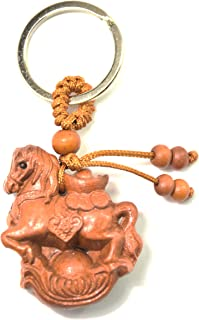 feng shui Chinese Horoscope Chinese Zodiac Handmade Wooden Keychain Home Decoration Attract Money Gift (horse)