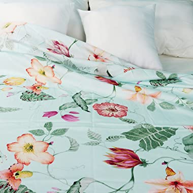 WBYCOTBED Green Floral Flat Sheet Cotton King, Breathable Bed Top Sheet, Luxury and Softest