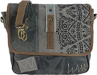 Sunsa Damen Umhängetasche/Messenger Tasche aus grauem Canvas. Große Crossbody Bag Geschenkideen für Frauen/Mädchen, nachha...
