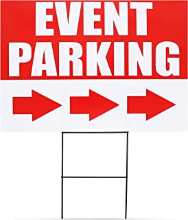 Juvale 6-Pack Corrugated Plastic Event Parking Lawn Yard Signs with Stakes, 3 Designs, 12 x 17 Inches