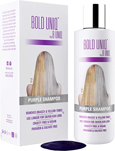 Purple Shampoo For Blonde Hair: Blue Shampoo for Silver and Violet Tones - Banish Yellow Hues: Revitalize Blonde, Bleached & Highlighted Hair - Sulfate Free Hair Toner - 8.45Fl.oz/ 250ml - Bold Uniq product image