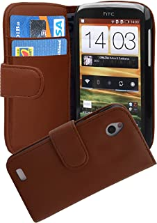 Cadorabo Book Case works with HTC DESIRE X in SADDLE BROWN - with Stand Function and Card Slot made of Smooth Faux Leather...