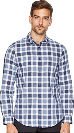 Long Sleeve Straight Hem Buffalo Plaid Button Down