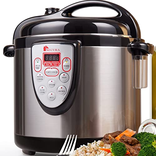 Secura 6-in-1 Programmable Electric Pressure Cooker 6qt, 18/10 Stainless
