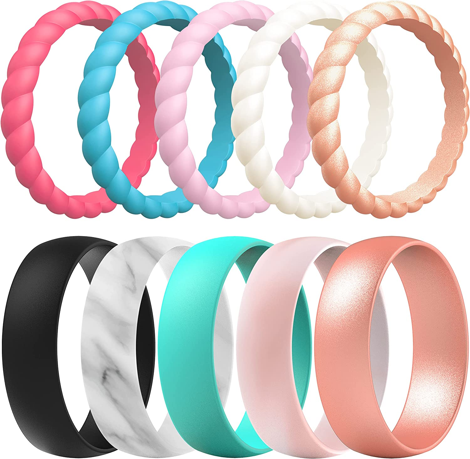 ThunderFit Silicone Wedding Ring for Women - 10/16 Rings Mixed Packs - Rubber Engagement Bands