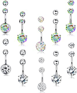 5-10pcs 14G Stainless Steel Belly Button Rings for Women Girls Navel Rings Crystal CZ Body Piercing