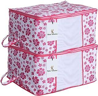 Kuber Industries™ Underbed Storage Bag,Storage Organiser,Blanket Cover Set of 2 Pcs - Pink Flower Design (Extra Large Size) Code-UNDPL07