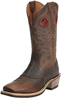 حذاء برقبة غربي عريض من Ariat Heritage Roughstock - حذاء رعاة البقر الغربي للرجال